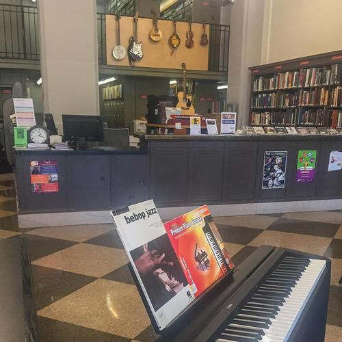 This year, the first two in-house practice pianos supplemented the collection. In the past when patrons would call asking for a piano to play, all we used to be able to do was refer them to local colleges
